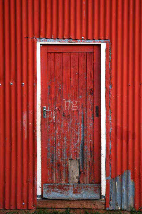 Red Wharehouse Door at Ramabanta Trading Post Lesotho